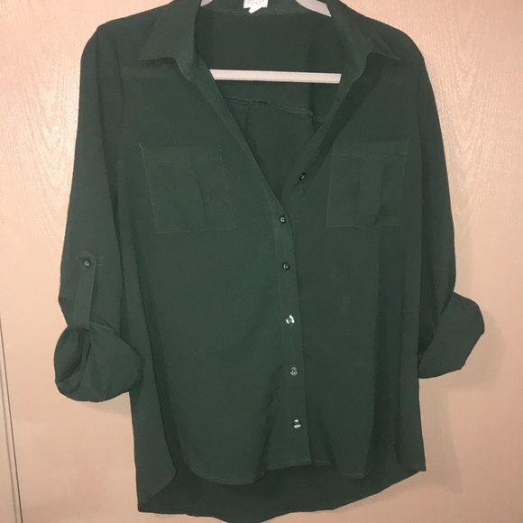 af2ad403b095dc Charming Charlie Tops | Forest Green Buttondown Blouse | Poshmark